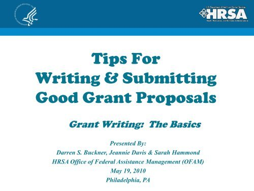 Tips For Writing & Submitting Good Grant Proposals - HRSA