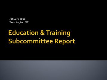 Subcommittee On Education And Training Report - HRSA