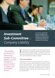 Investment Sub-Committee – Company Liability - Pinsent Masons