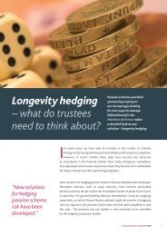 Longevity hedging – what do trustees need to ... - Pinsent Masons