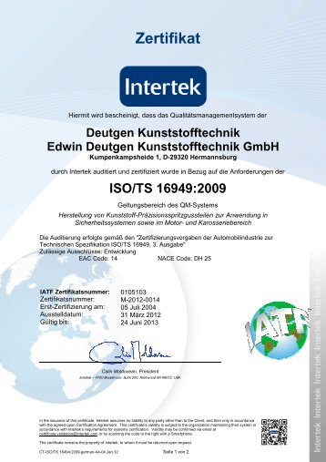 certificate iso/ts 16949 : 2009