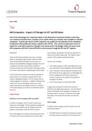 AIM Companies - impact of changes to VCT and ... - Pinsent Masons
