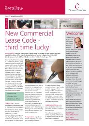New Commercial Lease Code - third time lucky! - Pinsent Masons