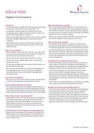Litigation Costs Insurance - Pinsent Masons