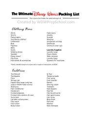 Ultimate Packing List - WDW Prep School