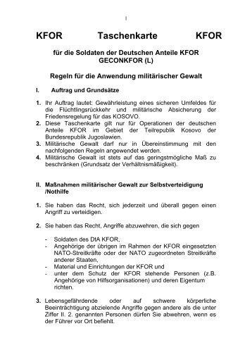 KFOR Taschenkarte KFOR - Pionierkameradschaft Holzminden