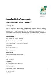 Special Validation Requirements Bar Operations Level 5 ... - Fetac