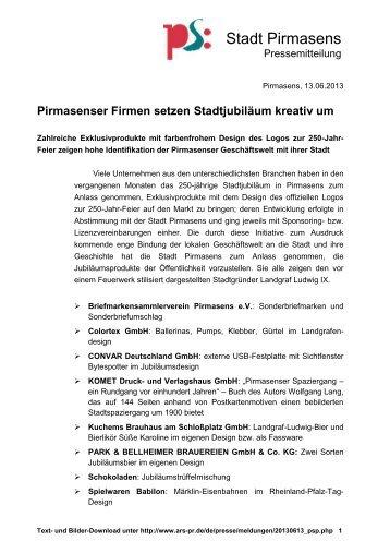 Pirmasenser Firmen setzen Stadtjubiläum kreativ ... - Stadt Pirmasens