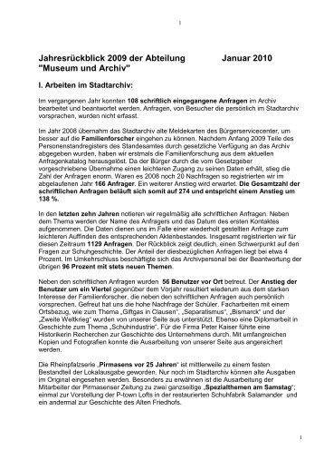 Museum und Archiv - Stadt Pirmasens