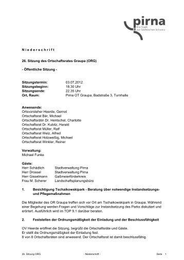 Niederschrift - Pirna