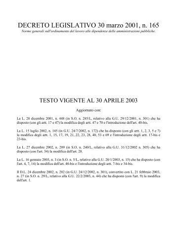 DECRETO LEGISLATIVO 30 marzo 2001, n. 165 - Piscino.it