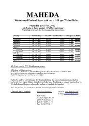 Maheda Blockhaus Preise / Katalog für Ferienhäuser, Wochenendhäuser, Freizeithäuser