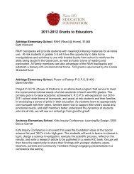 2011-2012 Grants to Educators - Plano Independent School District