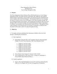 PISD Food Allergy Management Plan - Plano Independent School ...