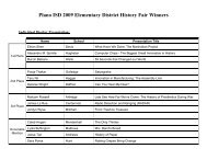 Elementary District History Fair Winners - Plano Independent School ...
