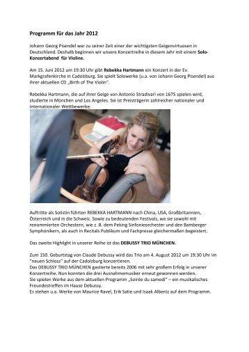 Programm für das Jahr 2012 - Johann-Georg-Pisendel-Gesellschaft