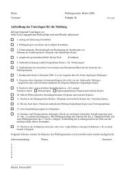 Aufstellung der Unterlagen für die Meldung