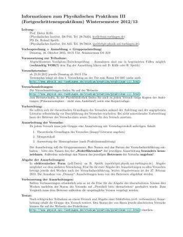 Informationen zum Physikalischen Praktikum III - Physikalisches ...