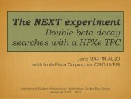 The NEXT experiment Double beta decay searches with a HPXe TPC