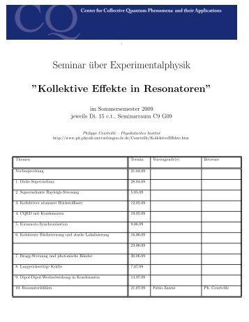 Kollektive Effekte in Resonatoren - Physikalisches Institut