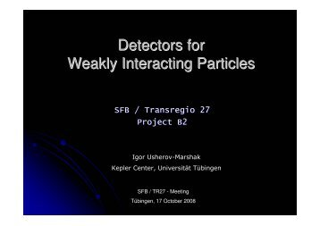 Detectors for Weakly Interacting Particles - Universität Tübingen