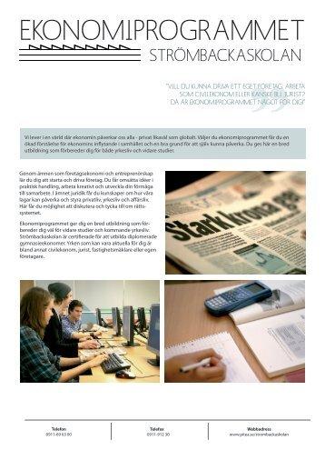 Programblad för EK-Ekonomiprogrammet, pdf 1Mb