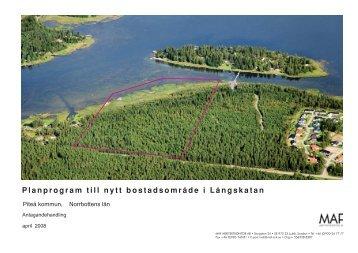 Planprogram till nytt bostadsområde i Långskatan - Piteå kommun