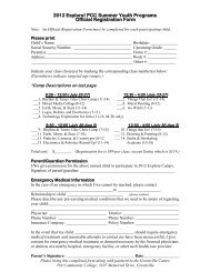 Kids' College 2006 Official Registration Form - Pitt Community College