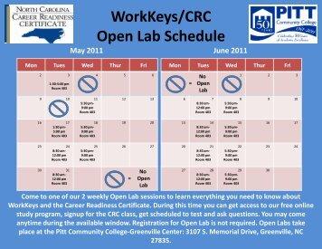 WorkKeys/CRC Open Lab Schedule - Pitt Community College