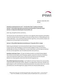Seminar 1 - PIWI - Privates Institut der Immobilienwirtschaft GmbH
