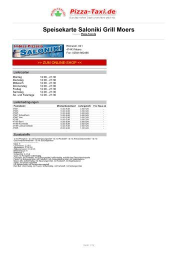 Saloniki Grill Moers in 47443 Moers, Römerstr. 641 - Pizza Taxi