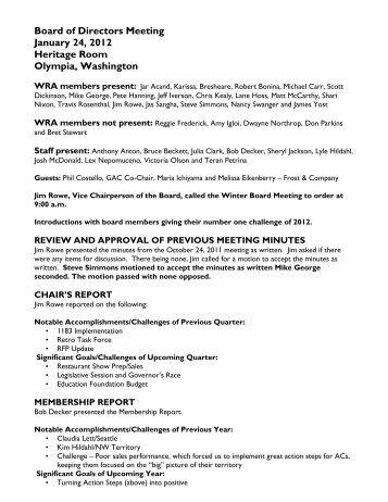 draft board meeting minutes washington restaurant association