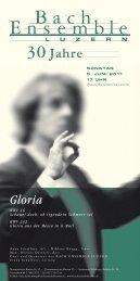 Gloria - Bach Ensemble Luzern