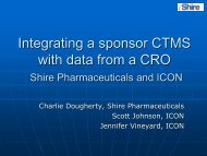 Integrating a sponsor CTMS with data from a CRO - IIR