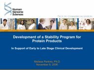 Development of a Stability Program for Protein Products - IIR