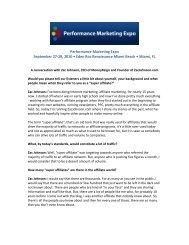Performance Marketing Expo September 27-29, 2010 • Eden ... - IIR