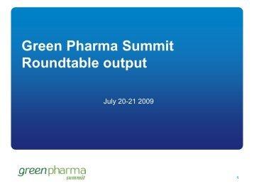 Green Pharma Summit Roundtable output - IIR
