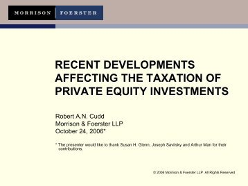 recent developments affecting the taxation of private equity ... - IIR