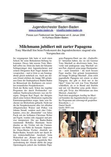 Milchmann jubiliert mit zarter Papagena - Jugendorchester Baden ...