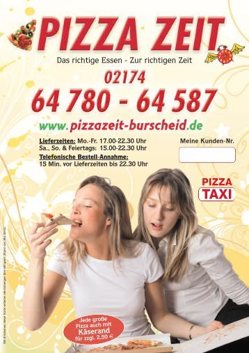 Das richtige Essen - Zur richtigen Zeit - pizza zeit