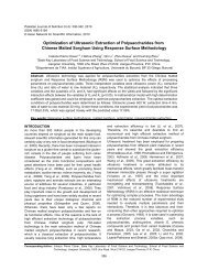 Optimization of ultrasonic extraction of polysaccharides from dried