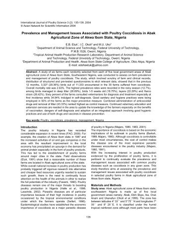 Prevalence and Management Issues Associated with Poultry ...