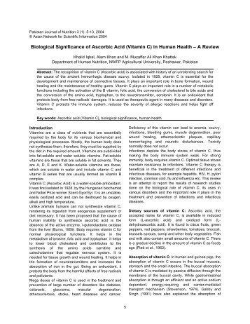 Biological Significance of Ascorbic Acid (Vitamin C) in ... - IREP