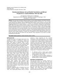 Relationship between annual rainfall oscillations and mohair produc
