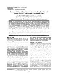 seasonal variation of metal concentrations in catfish, blue crab an