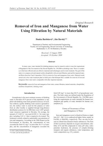 Removal of Iron and Manganese from Water Using Filtration by ...