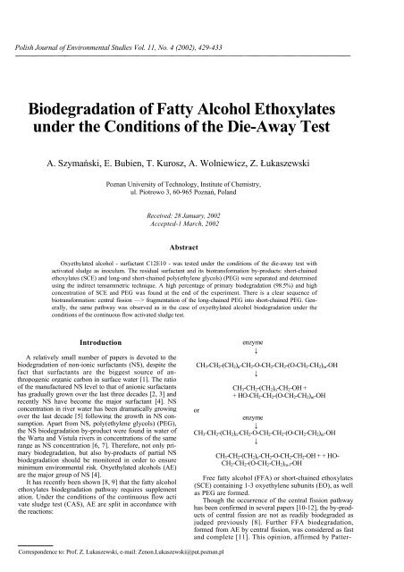 Biodegradation of Fatty Alcohol Ethoxylates under the