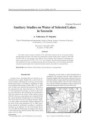 Sanitary Studies on Water of Selected Lakes in Szczecin
