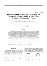Prediction of the Adsorption Coefficients for Imidazolium Ionic ...