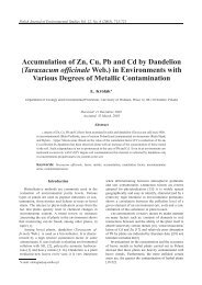 Accumulation of Zn, Cu, Pb and Cd by Dandelion - Polish Journal of ...
